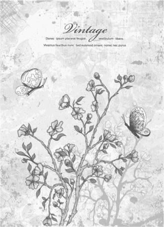 vector vintage background with floral Vector Illustrations old