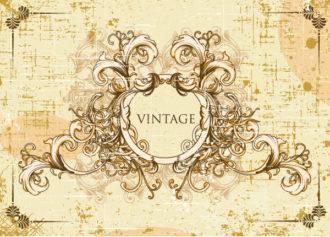 vector vintage frame with floral Vector Illustrations old