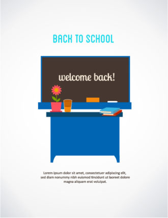 Back to school vector illustration with school table and desk Vector Illustrations vector