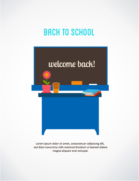 Brilliant Back Vector Design: Back To School Vector Design Illustration With School Table And Desk 5