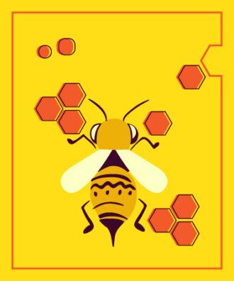 Illustrated flat vector Set Scenes bee