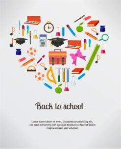 Back to school vector illustration with school elements Vector Illustrations vector