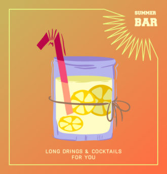Illustrated flat vector Set Scenes cocktail