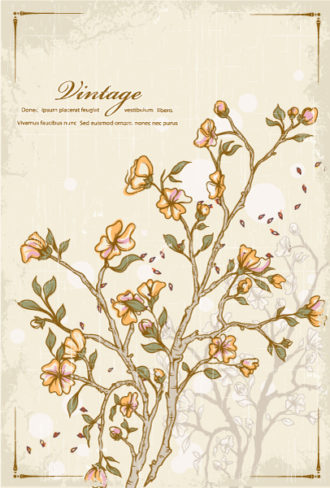 vector grunge with floral Vector Illustrations old