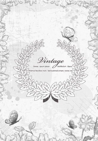 vector frame with floral Vector Illustrations old