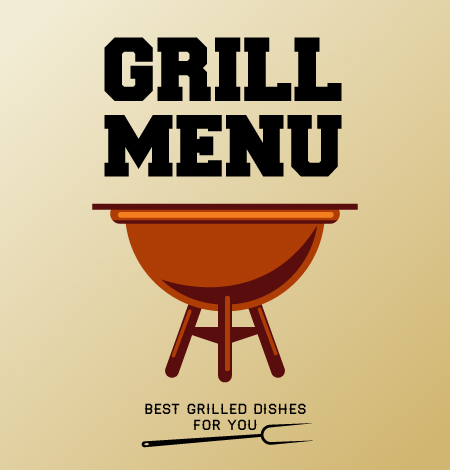 Illustrated, Grill Vector Art Illustrated Flat Vector Set 5
