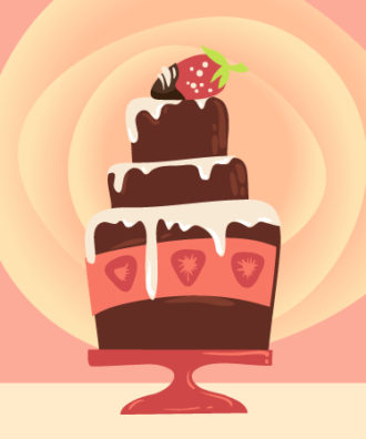 Illustrated flat vector Set Scenes cake