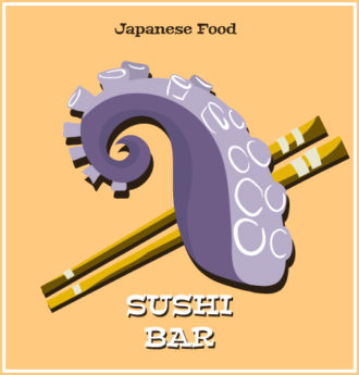 Illustrated flat vector Set Scenes japanese
