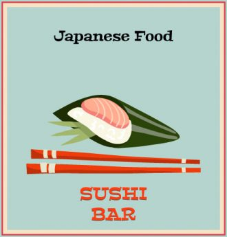 Illustrated flat vector Set Scenes sushi
