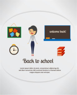 Back to school vector illustration with pinboard, clock, school teacher,pinboard, school table , clock and books Vector Illustrations vector