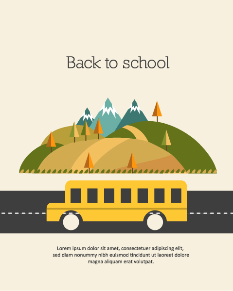Back to school vector illustration with school bus 2015 08 25