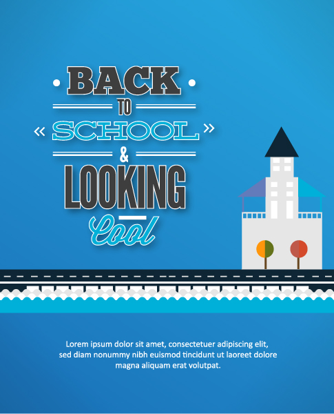 To Vector Background: Back To School Vector Background Illustration With City 2015 08 27
