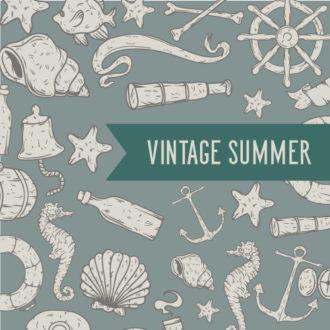 Illustrated flat vector Set Scenes summer