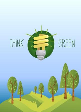 Think-green, Eco Vector Illustration Illustrated Flat Vector Set 5