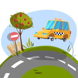Illustrated flat vector Set Scenes road