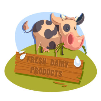Illustrated flat vector Set Scenes cow
