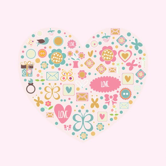Love vector illustration Vector Illustrations floral