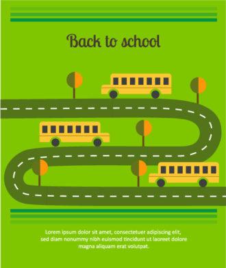 Back to school vector illustration with school bus Vector Illustrations tree