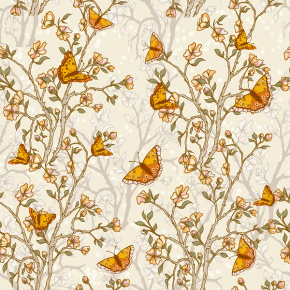 vector seamless floral background with butterflies 2015 08 392