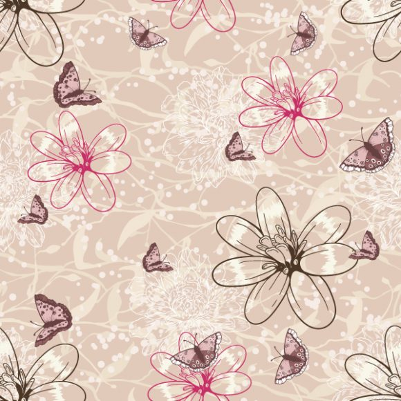 vector seamless floral background with butterflies 2015 08 393