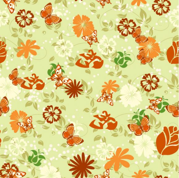 vector seamless floral background with butterflies 2015 08 394