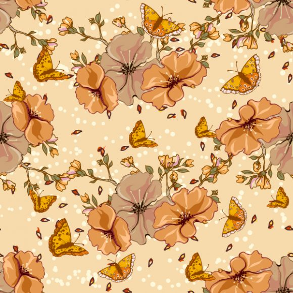 vector seamless floral background with butterflies 2015 08 396