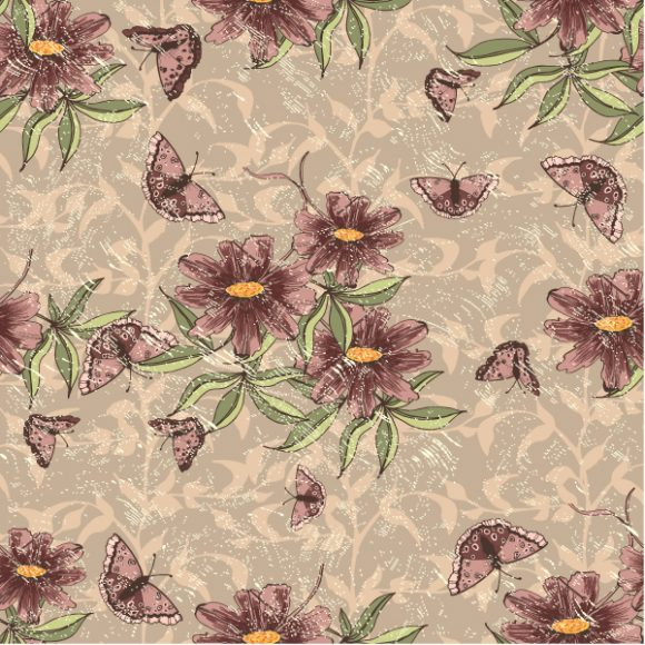 vector seamless floral background with butterflies 2015 08 397