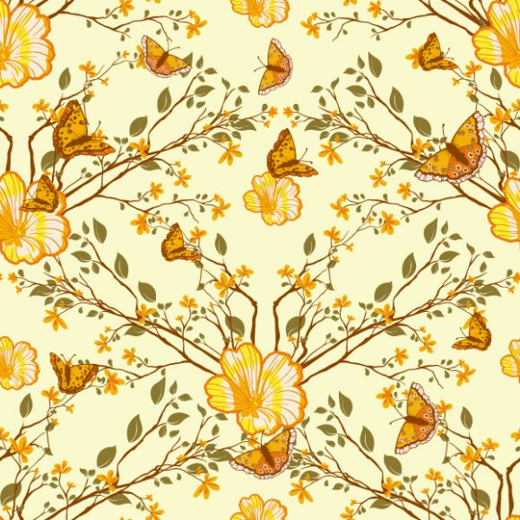 vector seamless floral background with butterflies 2015 08 404