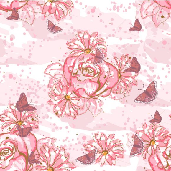 vector seamless floral background with butterflies 2015 08 411