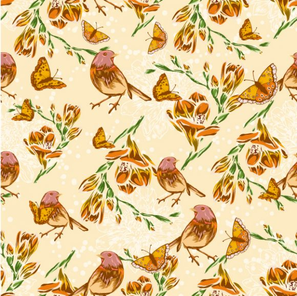 vector seamless floral background with birds 2015 08 414