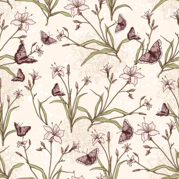vector seamless floral background with butterflies 2015 08 415