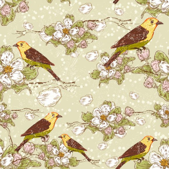 vector seamless floral background with birds 2015 08 416