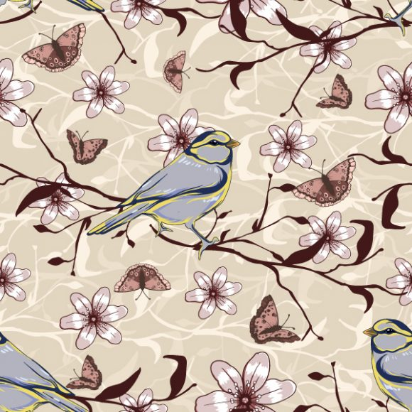 vector seamless floral background with birds 2015 08 418