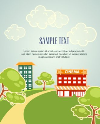 Vector background illustration with building, clouds and trees Vector Illustrations tree