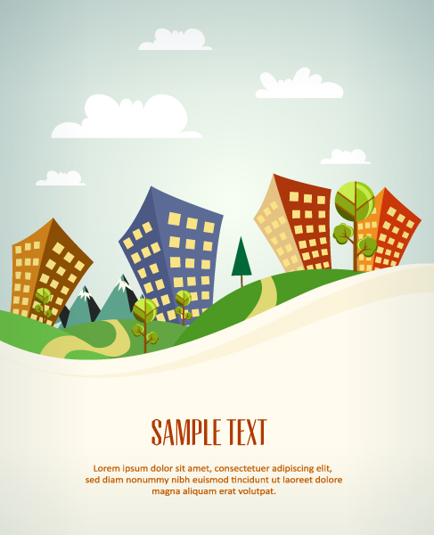 Vector illustration with buildings Vector Illustrations summer