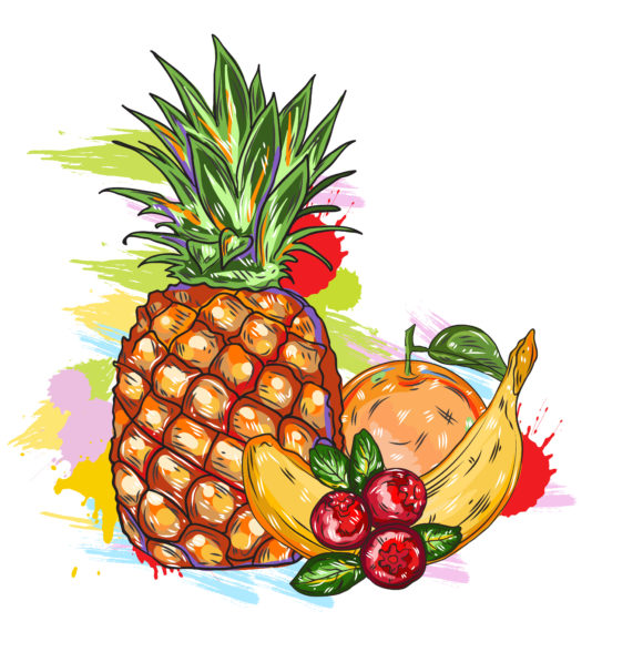 vector fruits with colorful splashes Vector Illustrations old