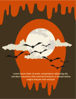 Halloween Vector illustration with moon, bat, clouds Vector Illustrations vector