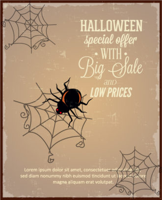 Halloween Vector illustration  with spider, Vector Illustrations vector