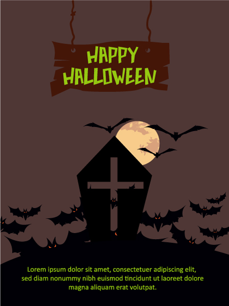 Halloween Vector illustration  with coffin, bats , moon Vector Illustrations vector
