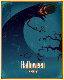 Halloween Vector illustration  with witch and tree Vector Illustrations tree