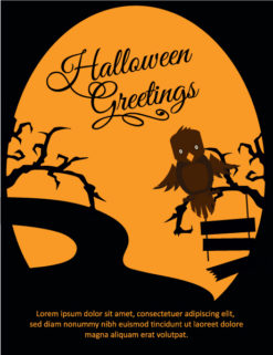 Halloween Vector illustration  with owl, tree Vector Illustrations tree