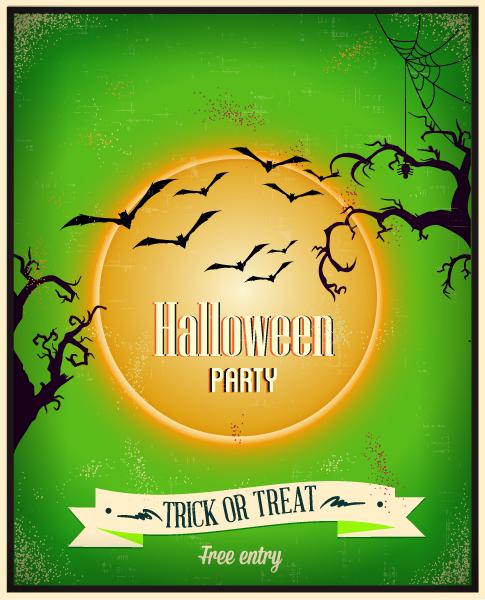 Halloween Vector illustration  with tree, moon, bats Vector Illustrations tree