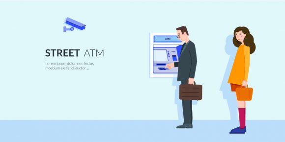 Street ATM Vector Illustration Vector Illustrations vector