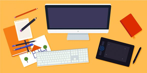 Desktop Vector Illustration Flat Style desk 2