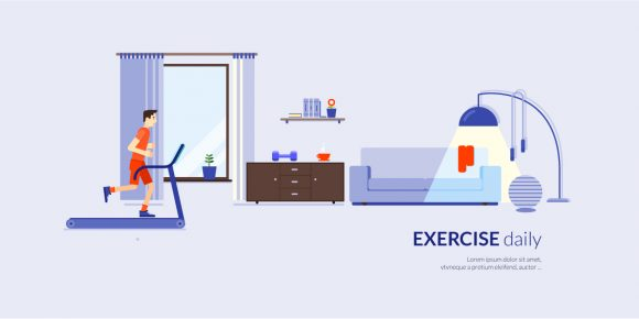 Daily Exercise Vector Illustration Flat Style Vector Illustrations vector