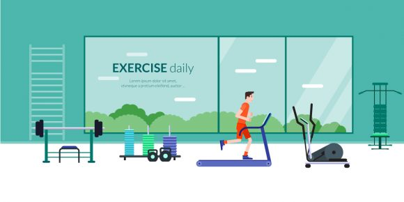 Exercise Daily Vector Illustration Flat Style fitness 2