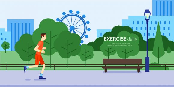 Outdoor Daily Exercises Vector Illustration Flat Style Vector Illustrations vector