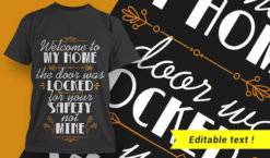 Welcome To My Home – The Door Was Locked For Your Safety Not Mine T-shirt designs and templates vector, t-shirt, typography, tee,