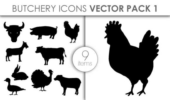 Vector Butchery Icons Pack 1 Vector packs vector