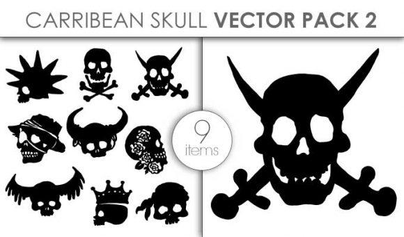 Vector Carribean Skull Pack 2 Vector packs vector